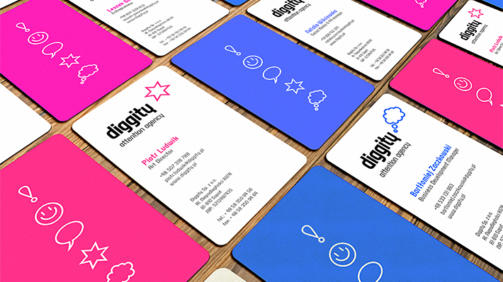 So kris diggity logo with variable icons and business cards for diggity attention agency advertising agency the scope of work logo design layout design of the colourmoves